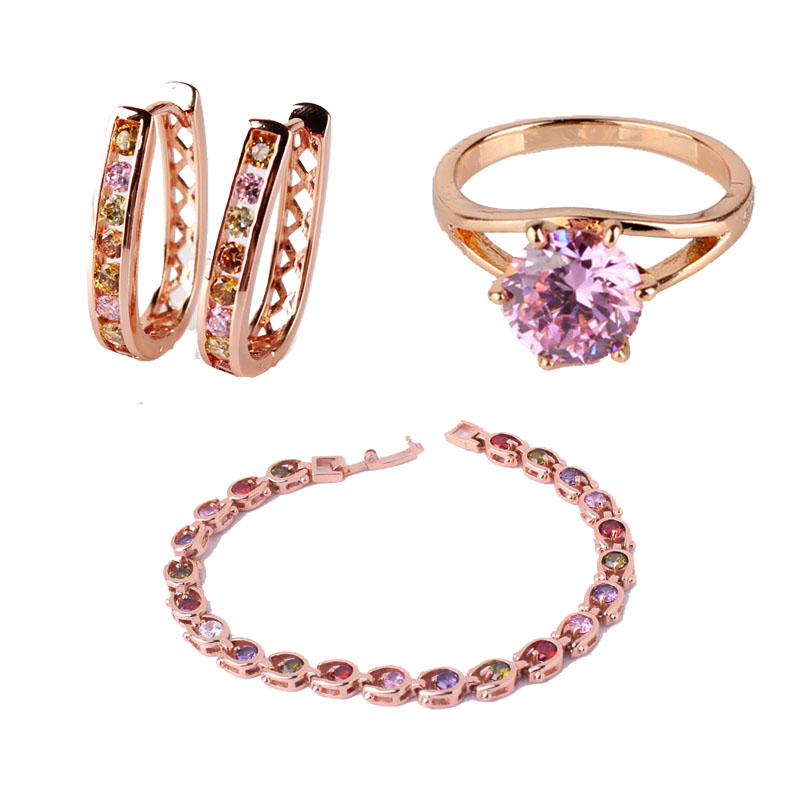 Best Match Gold color Hollow Hoop Earrings for Women Colorful Crystal Zirconia Earrings Bracele Ringg E307c
