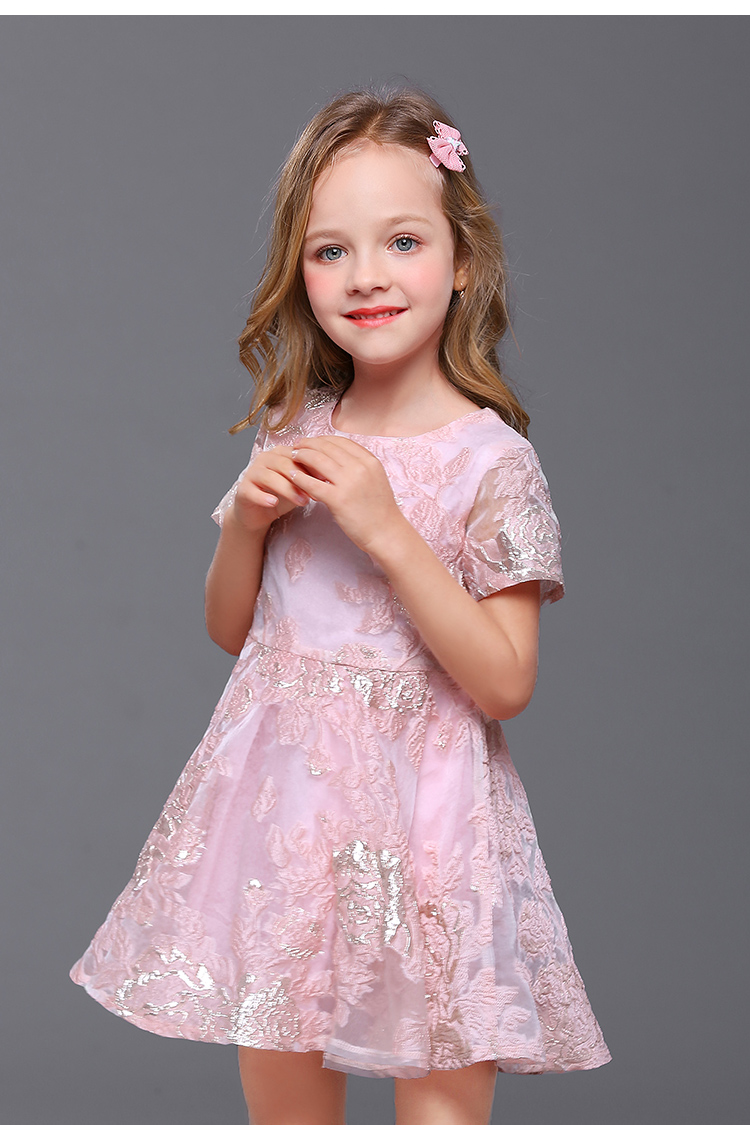 2018 Summer mother daughter dress family look children embroidery organza big hem pleated dress kids mom and girl matching dress curved hem striped tee dress