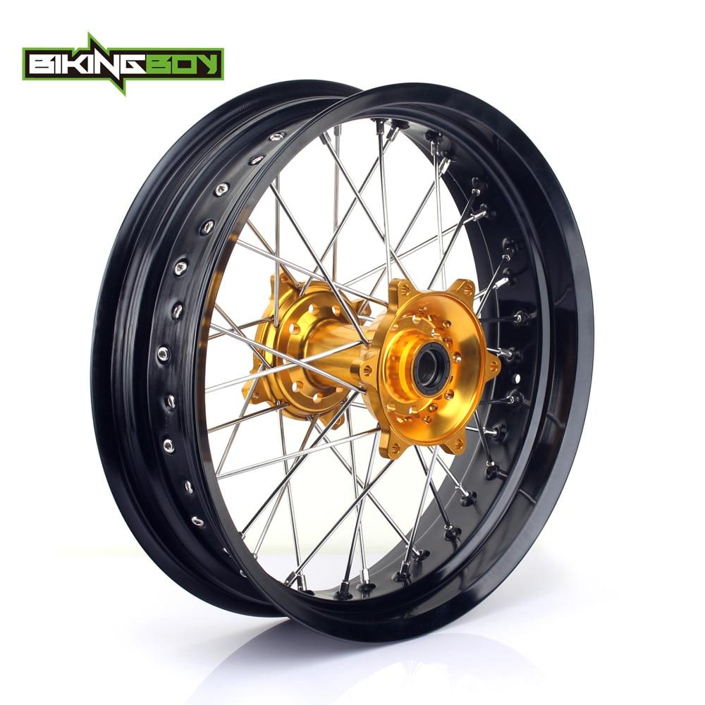 BIKINGBOY 4.25 x 17 Supermoto MX Complete Rear Wheel Rim Hub Set 36 Holes for Suzuki RMZ250 RMZ 250 07-16 RMZ 450 RMZ450 05-16 bikingboy front 13t rear 48t 49t 50t 51t 52t sprockets 520 chain for suzuki rmz 450 rmz450 2005 2016 rm z 450 05 16 full set