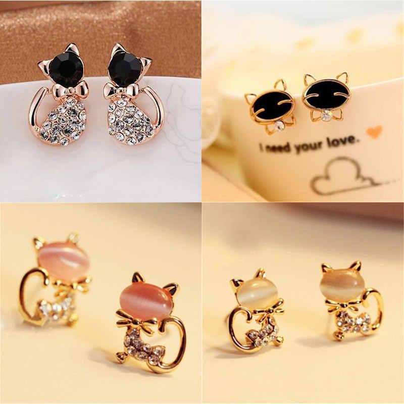 Vente chaude mode boucles d'oreilles cristal bijoux belle strass chat boucles d'oreilles mignon chat boucles d'oreilles pour femmes filles cadeau
