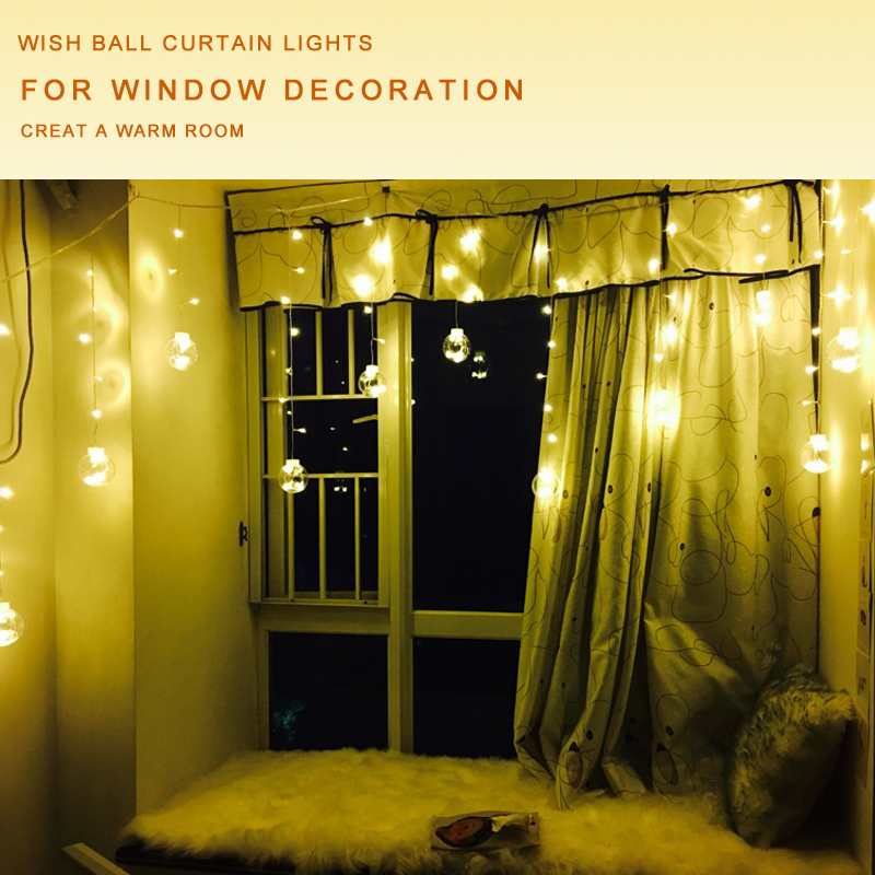 aliexpresscom buy big globe ball indoor window christmas curtain light 3m 120 led wedding balcony home fairy light string 8mode party holiday lamp from - Indoor Window Christmas Decorations