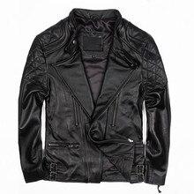 2017 мужские черные повседневная кожаная куртка Диагональ молния плюс Размеры 3XL Slim Fit Мужчины толстые кожаные пальто фабрики Бесплатная доставка