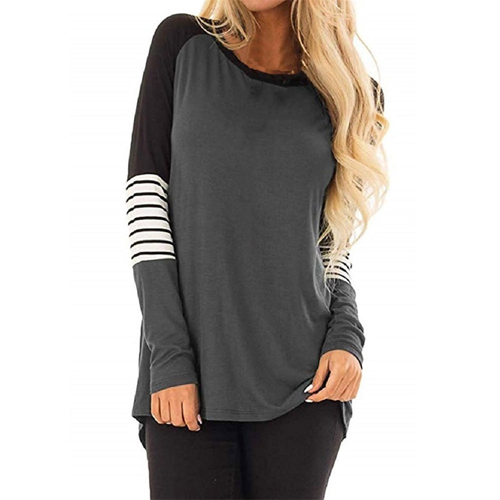 Tshirt Women Chemise Femme Plus Size Women Stripe Casual Color Block T-Shirt Loose Long Sleeve Top Tee Shirt Femme Camisas Mujer