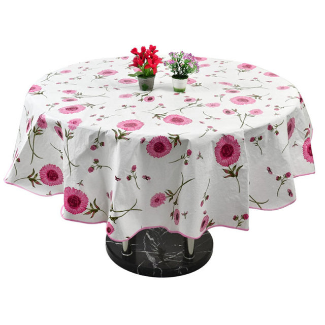 Waterproof Round Floral Tablecloth