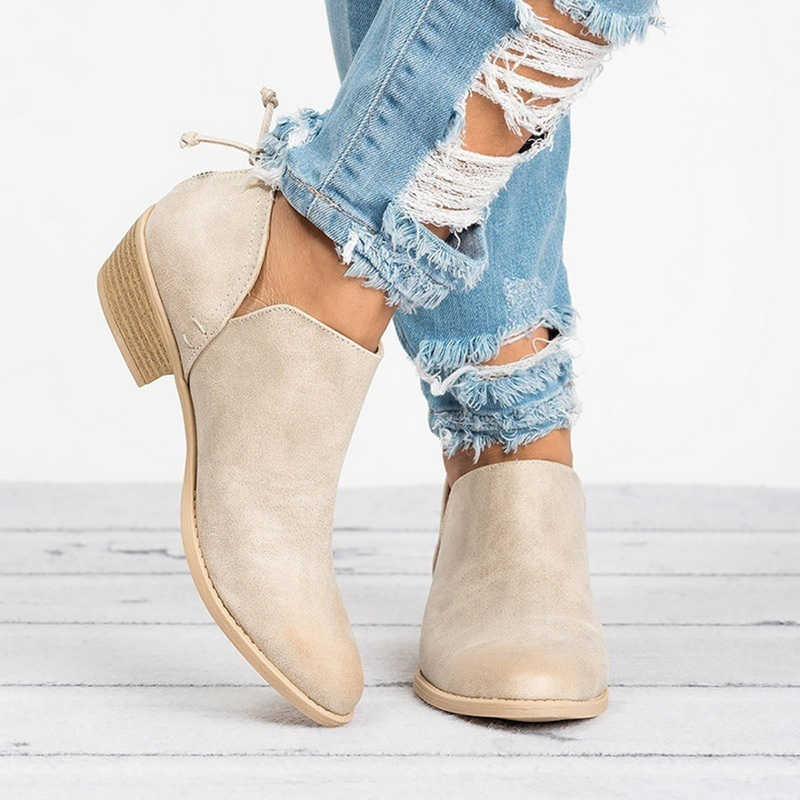 Women Boots Heel Square Single-Shoes Slip-On Ankle Pointed-Toe Female Fashion Casual