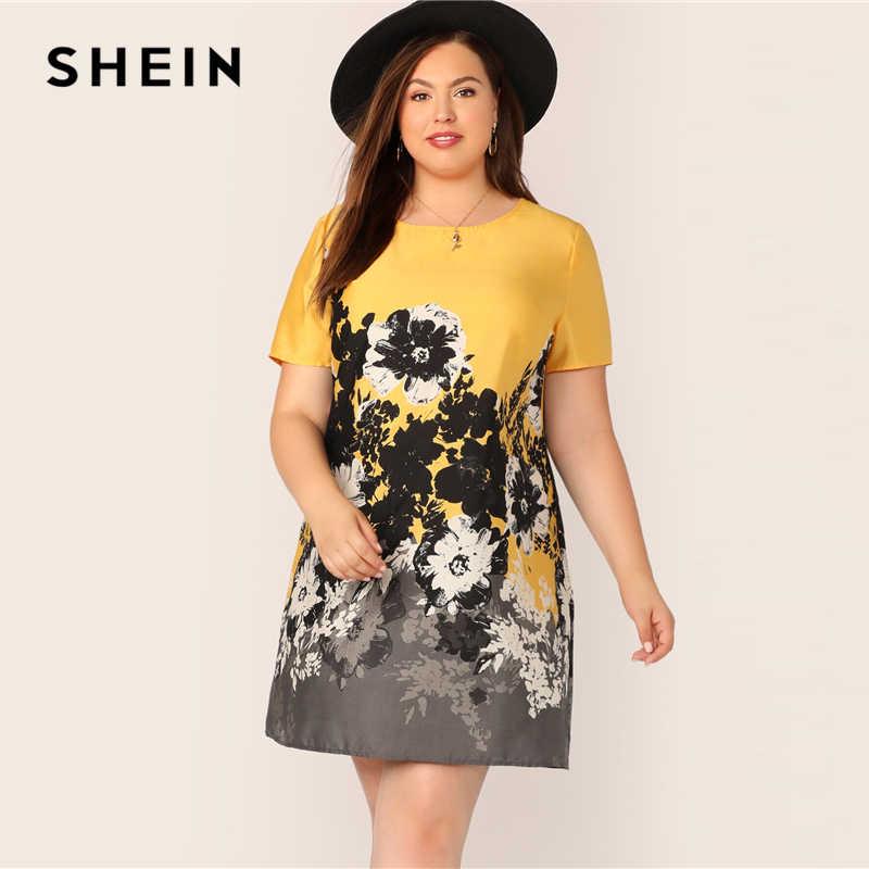 Шеин размера плюс, разноцветная туника с цветочным принтом, бохо платье 2019, женское летнее прямое Цельнокройное платье с круглым вырезом и коротким рукавом, плюс платья