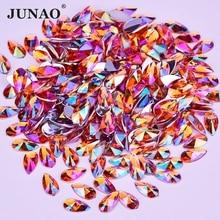 JUNAO 8x13mm 9x18mm Orange AB Crystal Rhinestones Acrylic Gems Drop Strass  Crystals Non Sewing Flatback Stones ac48d5984eb1