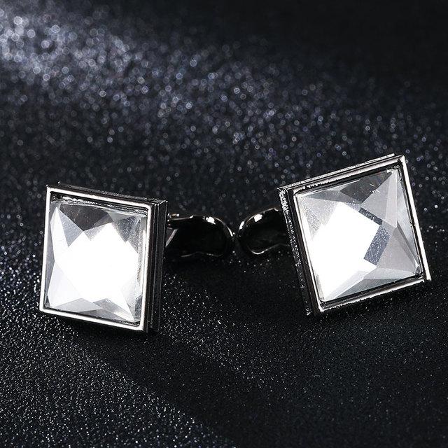 Top Crystal Purple Square Silver Cufflink Luxury Men's Shirts Cufflinks Button Wedding Jewelry