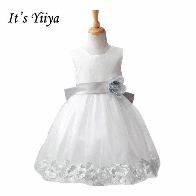 9c07199c8b53a It's YiiYa 4 Colors Sleeveless Lace O-Neck Kids Princess Flower girls Dress  Pleated Skirt Little Girls Pageant Party TS082