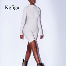KGFIGU rompers womens sets 2019 Autumn white ribbed combinaison femme long sleeve knitting outfits cotton fabric streetwear