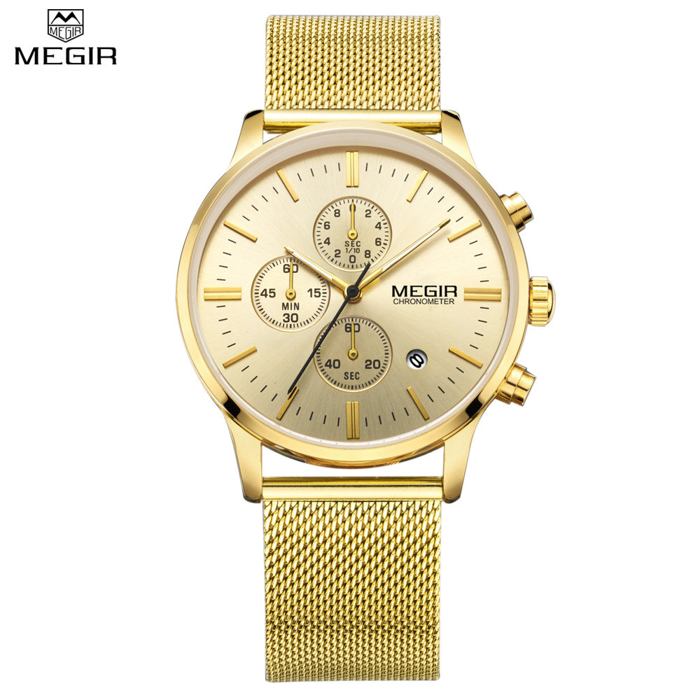 MEGIR Mens Chronograph Quartz Stainless Steel Mesh Luxury Band Watches Water Resistant Multi function Solid Color
