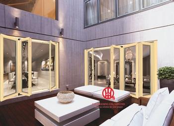 Aluminium Front Tür Luxus Hotel, Außen Wasserdichte Glas Bifold Aluminium Klapp Tür, Verglasung Gehärtetem Glas Tür