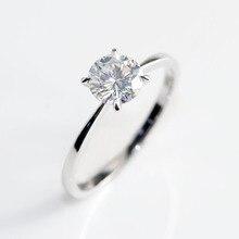 10k Oro Bianco Testa Rose Gold Bnad 2ct 8 millimetri Taglio Brillante GH Colore Moissanite 4 Poli Solitario di Nozze anello di proposta