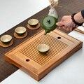 Чайный набор кунг-фу Натуральный Бамбуковый поднос для чая прямоугольный традиционный деревянный поднос для чая чахай чайный столик