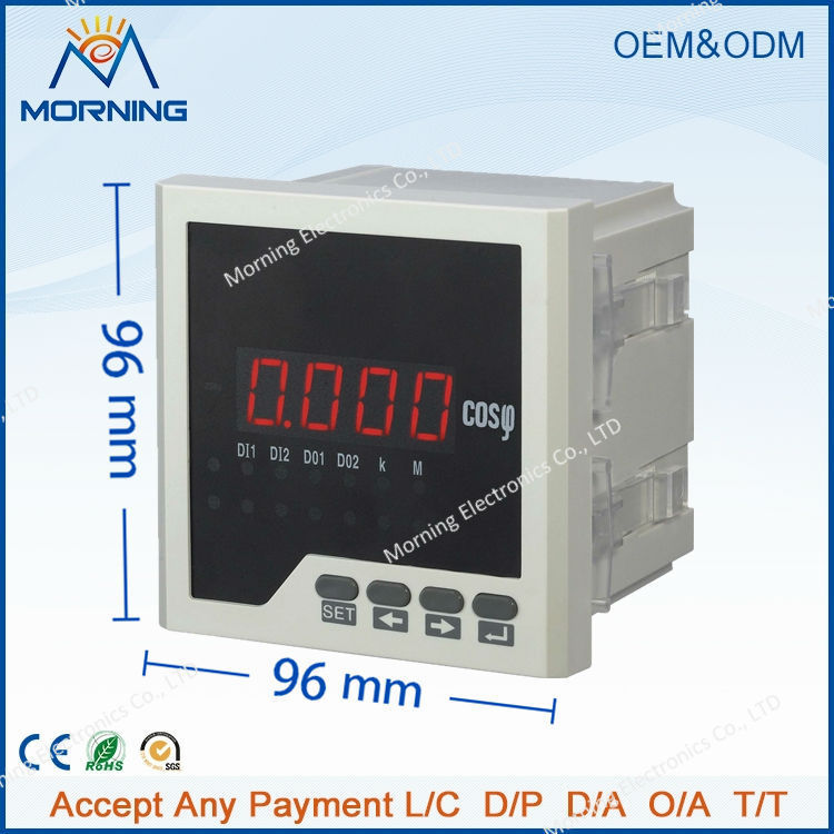ME-3H31 96*96mm hot sale LED display 3-phase digital power factor meter, support RS-485 communications and Modbus-RTU protocol  цены