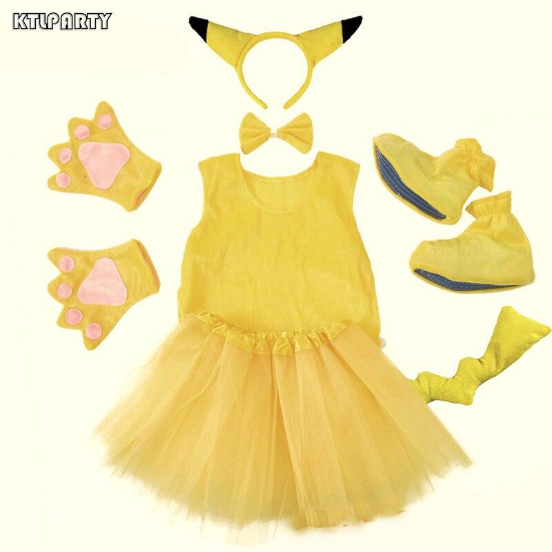 Halloween party Cosplay children PokeMon Pikachu Ears tutu ...
