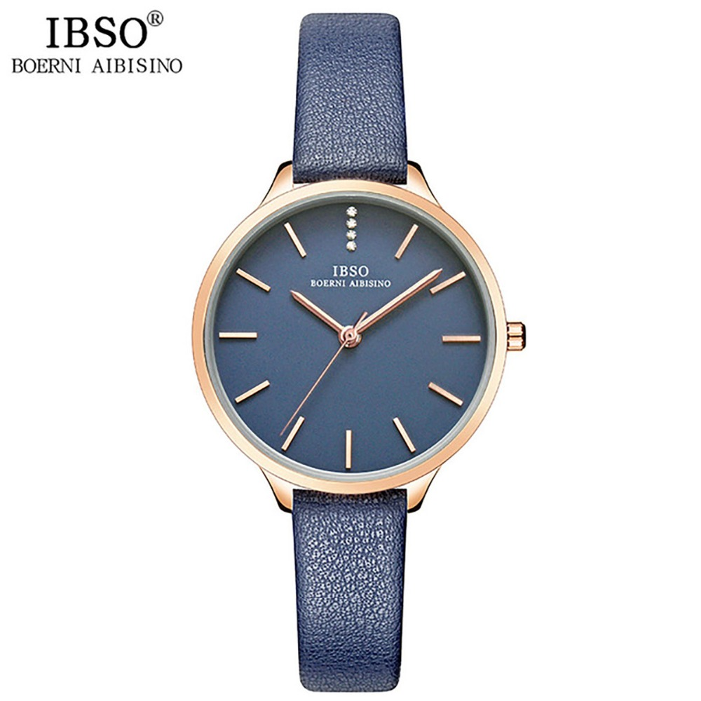 IBSO Women Fashion Watch 2018 Luxury Rose Gold Quartz Analog Watch Blue Leather Strap Ultra Thin Watches for Ladies Montre Femme