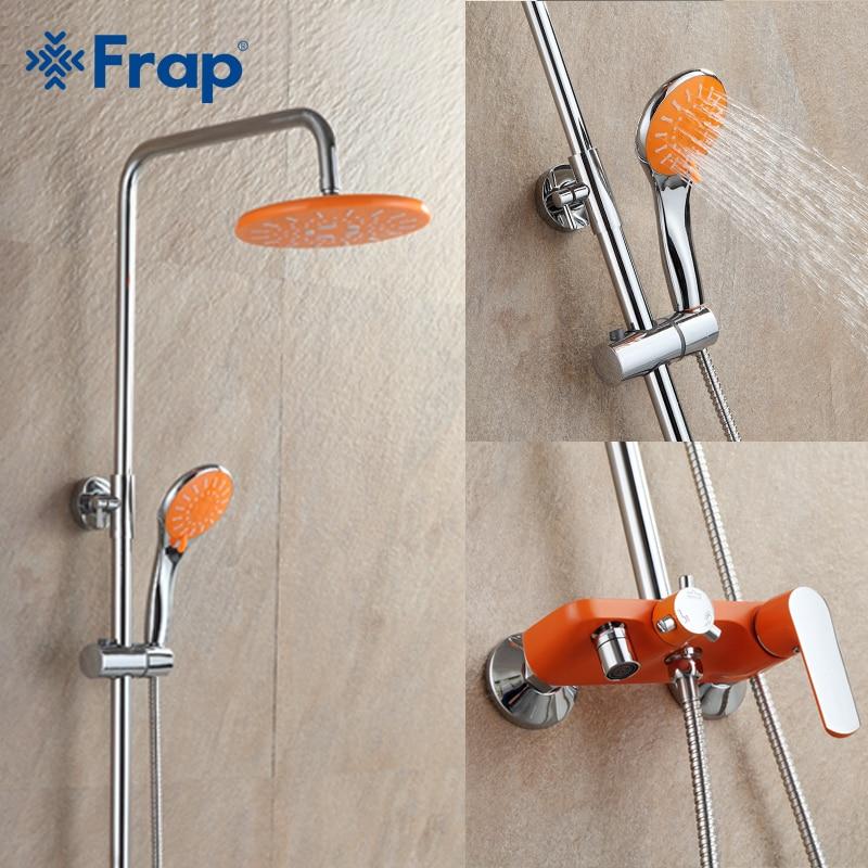 1 Set Orange Bathroom Shower Set Brass Chrome Wall Mounted Shower Faucet Water Tap