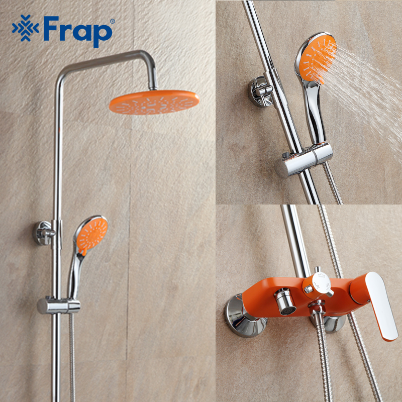 Frap 1 set Orange Bathroom Shower Set Brass Chrome Wall Mounted Shower Faucet Water Tap F2432 china sanitary ware chrome wall mount thermostatic water tap water saver thermostatic shower faucet