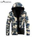 2017 Nova Moda Homens Jaqueta de Inverno Jaquetas Parka Hombre Invierno Camuflagem Quente Capuz Casaco NSWT120