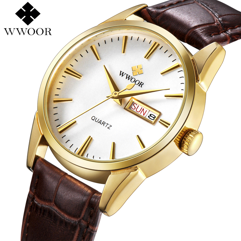 WWOOR Top Brand Men Watch Day Date Luxury Gold Quartz Men Sports Watches Male Brown Leather Strap Analog Clock Relogio Masculino break men watches luminous military army analog date day sport watch leather strap male clock quartz watch relogio masculino new