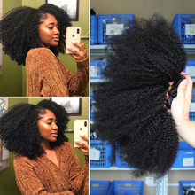 Mongolian Afro Kinky Curly Hair Weave With Closure Natural Black 4B 4C Remy Human Hair Bundles Extension 3 Dolago Products(China)