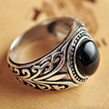 925 Sterling Silver Thai Silver Ring Mens Natural Stone Black Agate Retro Type Ring For Man Anel Masculino
