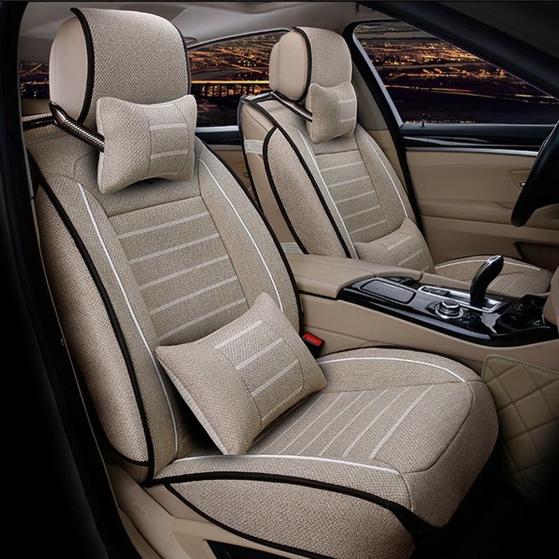 flax car sear covers for opel vectra c astra j meriva insignia zafira a mokka corsa c astra car seat protector Auto accessories