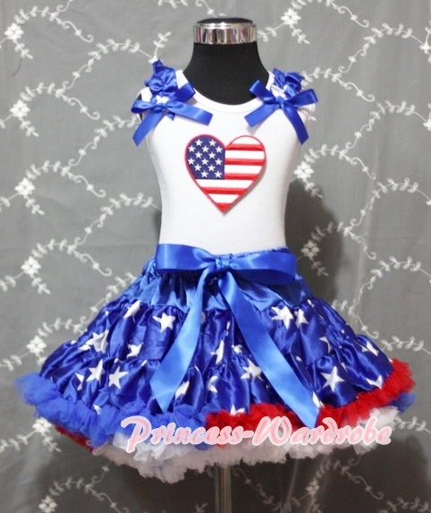 4th July American Heart White Cotton Shirt Patriotic Stars Royal Blue Skirt Girl Clothing Set MAPSA0913 4th july patriotic rwb stripe heart skirt white top shirt girl clothing set 1 8y mapsa0624