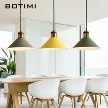 Botimi Fashion LED Pendant Lights With Wooden Metal Lampshade Lamparas Colgantes Modern Nordic Hanging Lamp For Dining Kitchen