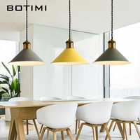 Botimi Fashion LED Pendant Lights With Wooden Metal Lampshade Lamparas Colgantes Modern Nordic Hanging Lamp For