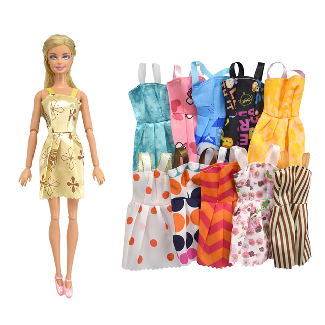 15 Item/Set Doll Accessories=10 Pcs Sorts Beautiful Doll Clothes+5 Shoes Fashion Party Kid Gift Toys for Barbie Doll Accessories
