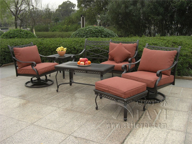 Exceptional 6 Piece Cast Aluminum Patio Furniture Outdoor Furniture Sofa Set Transport  By Sea