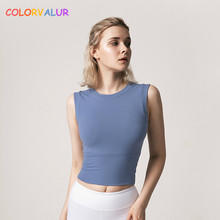 Colorvalue Slim Fit Workout Sport Crop Top Women Quick Dry Running Fitness Vest Plain Yoga Gym Sleeveless Shirts Without Pads недорого
