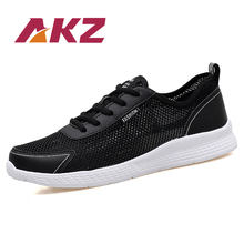 AKZ 2019 New Summer Shoes Man casual shoes Mesh Comfortable Breathable Outdoor Walking Shoes Light Male Flats Lace up