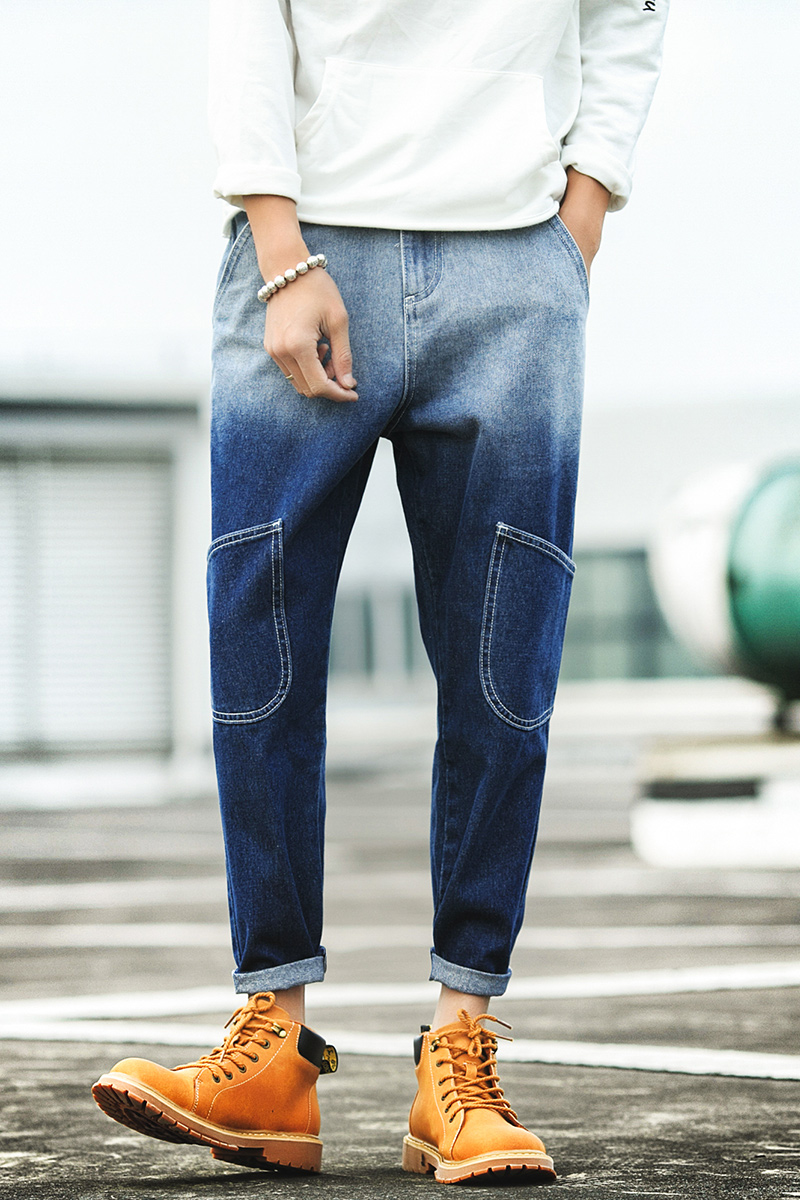 Babbytoro mens jeans 2017 new multi-pocket decoration contrasted color casual denim pants plus size 5xl 4xl 3xl m colorful brand large size jeans xl 5xl 2017 spring and summer new hole jeans nine pants high waist was thin slim pants