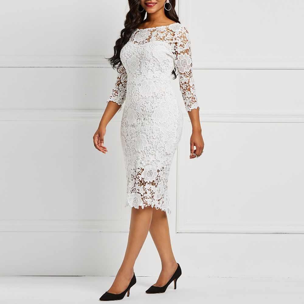 Женское белое просвечивающее Кружевное облегающее платье с цветочным принтом для вечеринок и свиданий, офисные женские весенне-летние Базовые платья