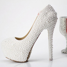 Cheap Woman Fashion Wedding Shoes Beautiful Luxurious Elegant Pearl Honeymoon 14CM Heel Wedding Bridal shoes Party Prom Shoes