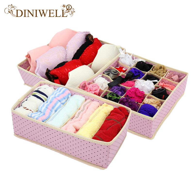 DINIWELL 3PCS Foldable NonWoven Home Underwear Storage Box  For Bra Tie Socks Container Organizers Closet Draw Dividers(China)