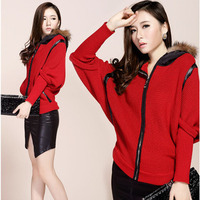 Loose bat sleeve thickening knitted sweater with fur collar hooded cardigan coat woman