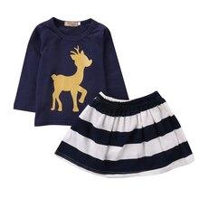 2PCS Toddler Kids Baby Girls Clothes Set Long Sleeve Cotton Deer T-shirt Tops +Skirt Outfits Casual Princess Kids Girls Clothing