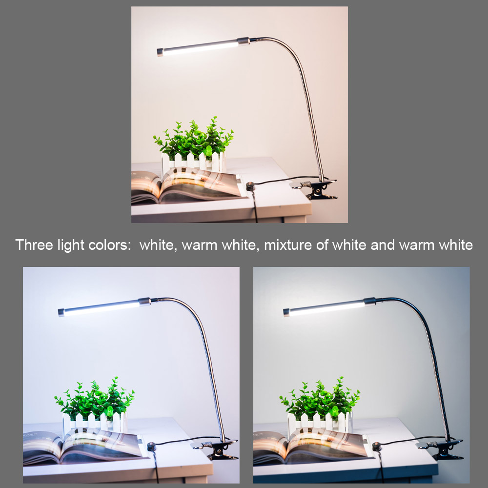 Lixada 10W 36 LEDs 10 Level Dimmable Eye Protection LED Adjustable Clamp Clip Light Table Desk Reading Lamp 3 Lighting Colors USB Powered White & Warm