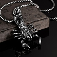 24 Inch High Quality Scorpion Charm 316L Stainless Steel Necklaces Men Punk Style Pendant Necklace Wholesale