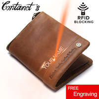 Contact S 2017 New Men Genuine Leather Bi Fold Wallet Vintage Brand Rfid Blocking Wallets Zipper