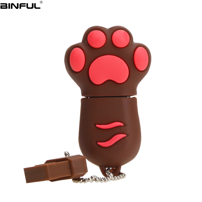 Hot Sale Cat Paw Usb Flash Drive 32GB 64GB 128GB Pendrive 4G 8GB 16GB Lovely Cartoon Pen Drive High Quality Silicone Memoria Usb-in USB Flash Drives from Computer & Office