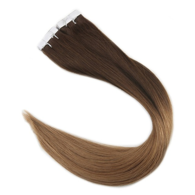 Full Shine Ombre Hair Extension Dark Color 3 Fading To 6 Chestnut