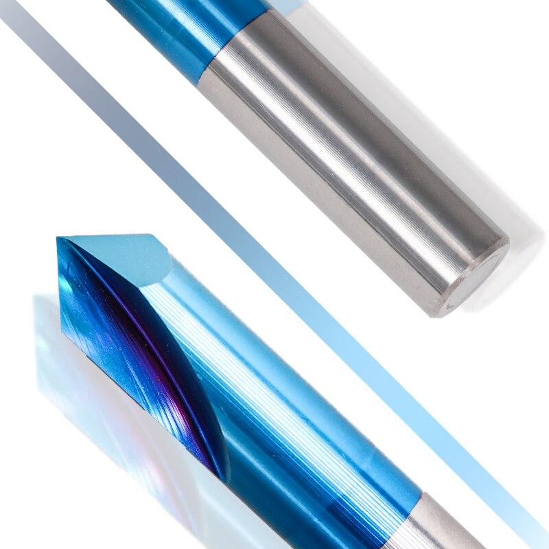 Image 5 - XCAN 1pc 2 12mm 90 degrés Nano bleu enduit chanfrein fraises en bout CNC Machine routeur Bit 2 cannelures fraise en bout carbure fraise en boutFraise   -