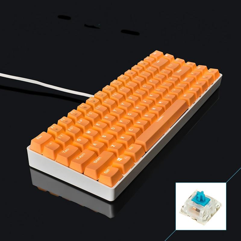 KANANIC White Light Mechanical Gaming Keyboard CIY Blue Switch Blue/Pink/Orange/Purple PBT Keycap 82 Keys Wired USB Keyboard кукла defa lucy модная white light blue 8316bl