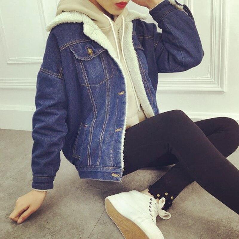 Для женщин зимняя куртка 2018 Повседневное джинсовая куртка с длинным рукавом хлопок на меховой подкладке теплые джинсы пальто Верхняя одежд...