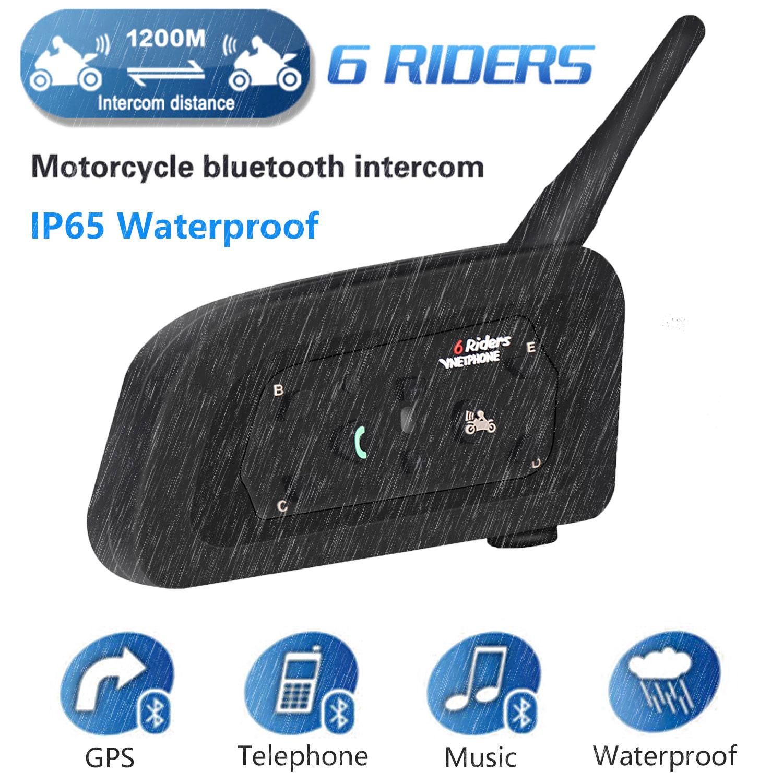 Waterproof Multi Motorcycle Intercom Intercomunicador V6 Helmet Speaker Bluetooth Headset For 6 Riders 1200m Helmet Interphone